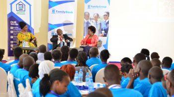 Ms. Wanjiku Waithaka, Dr. David Thuku and Ms. Jacqueline Mathaga with students during a recent mentorship workshop