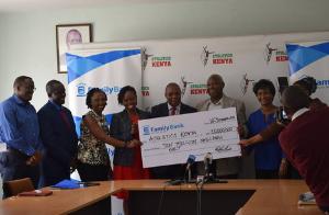 Family Group Eldoret Half Marathon Cheque Presentation