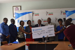 Family Group Eldoret Half Marathon Cheque Presentation